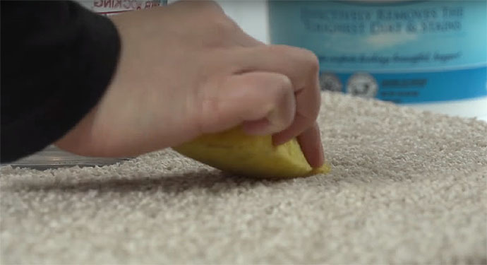Apply Water With Sponge To Stain