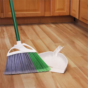 Dustpan And Broom For Cleaning Unfinished Wooden Flooring